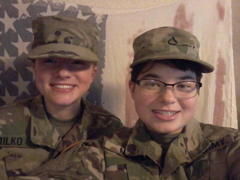 Annika+Milko+and+her+sister+Michaela+Milko+pose+for+a+picture+in+their+National+Guard+Uniforms.