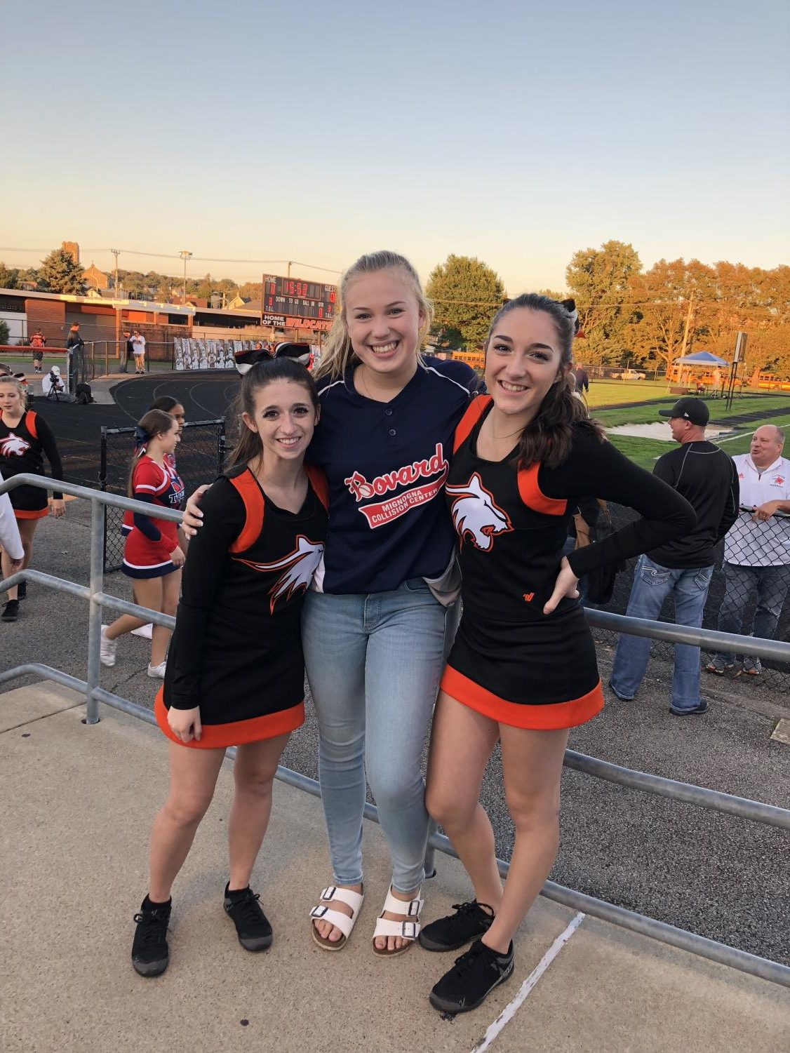 Maura Casey (left) and Bailey Siko (right) joined by friend Amelia Enfinger before the game on September 29, 2018.
