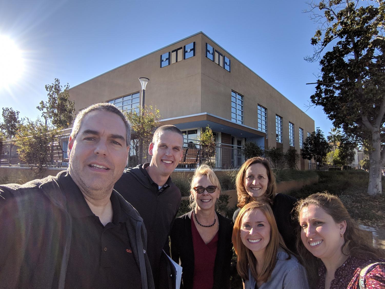 Mr. Brandt, Mr. Mains, Mrs. Mack, Mrs. Reisz, Mrs. Faust, and Ms. Reibel in front of High Tech High School.