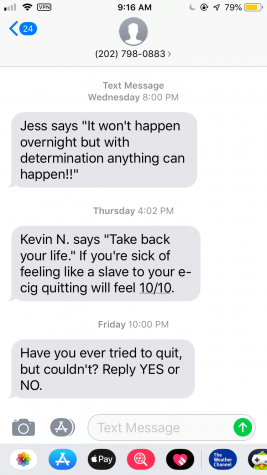 Encouraging texts from The Truth Initiative anonymous text support.