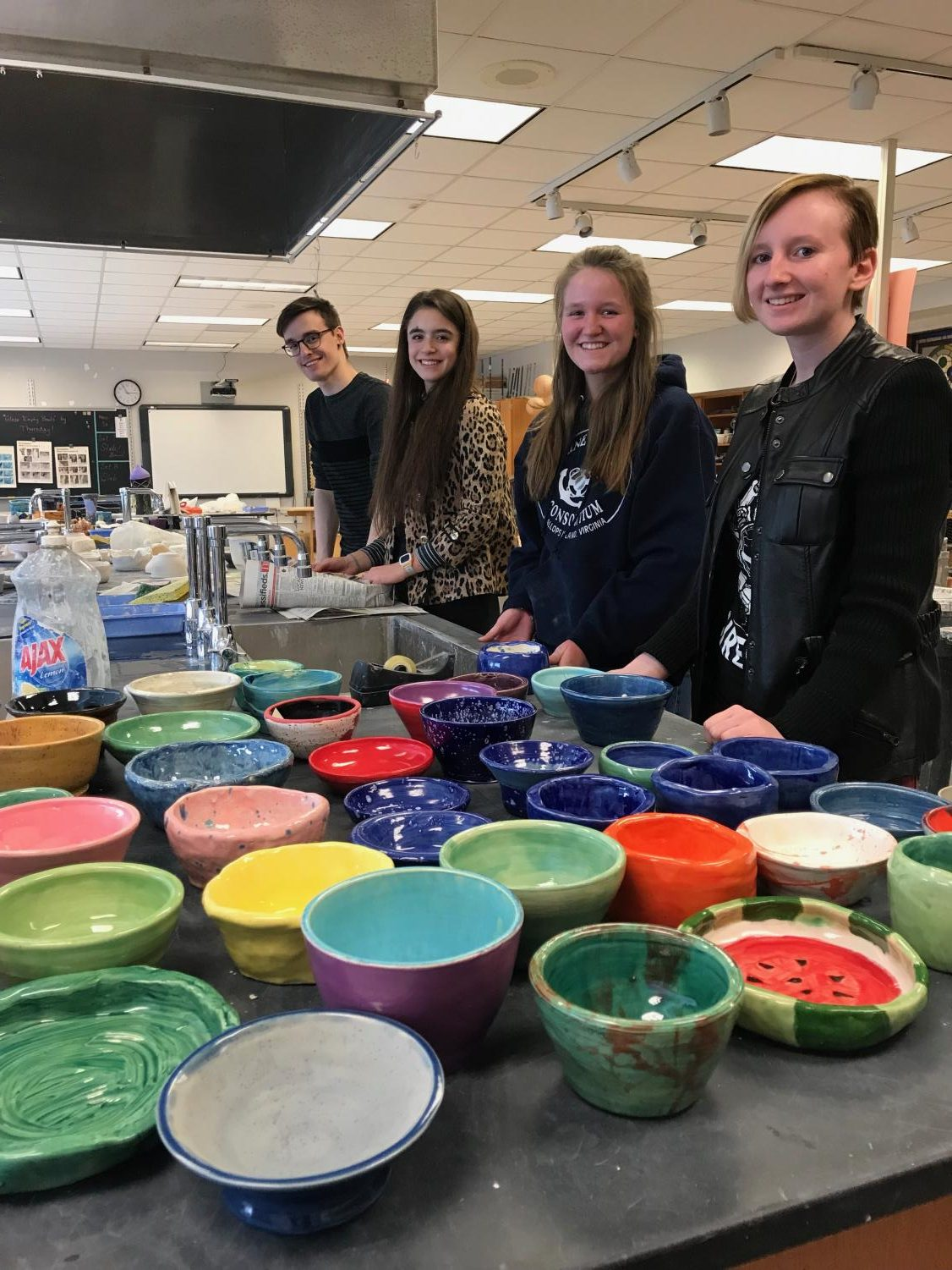 National Art Honor Society members package up the bowls for the Empty Bowl event held at Hempfield High School each year.