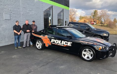 From left to right:  Josh Popnick, owner of Blackout Tinting; Officer Robert Daerr, GL School Resource Officer; and Chief John Sleasman, Latrobe Police Department.