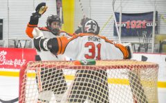 Senior Captian Lane Ruffner, and Senior Goalie Greg, celebrate what ended up being their last win together.