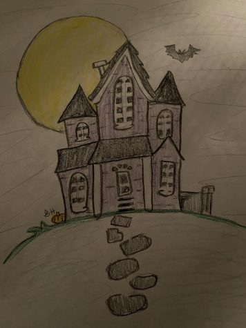 Haunted house drawn by Gina Hoburn