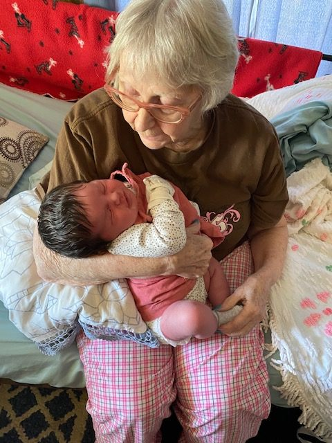 My grandma Diana Bald got to meet her great-granddaughter Lily on August 22 at her house. She was very excited to finally meet Lily and see her in person.
